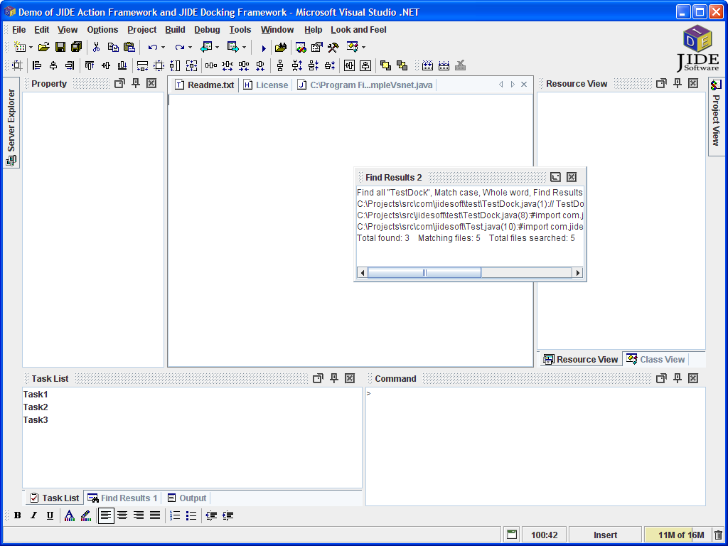 JIDE Software - JIDE Docking Framework - Swing Dockable