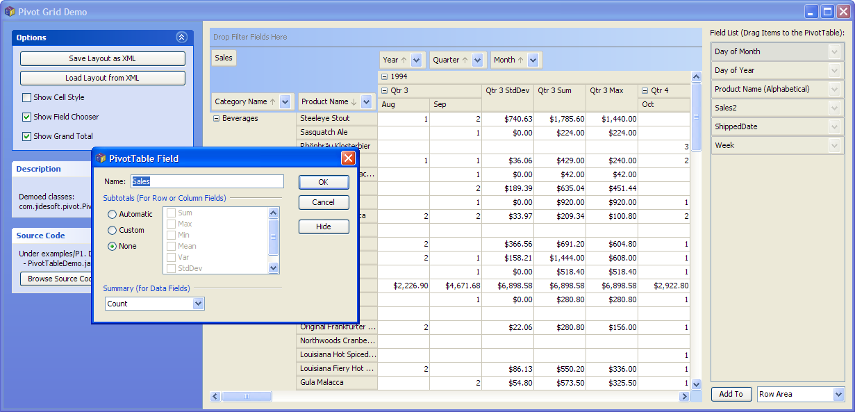 excel how to return a lkist in a pivot table